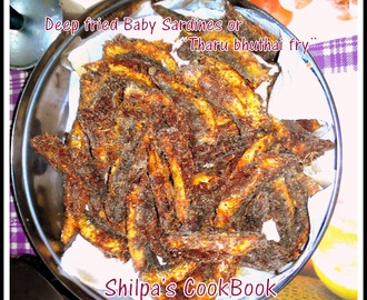 "Deep fried baby sardines or ""tharu bhuthai fry"""