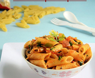 INDIAN STYLE MASALA PENNE PASTA RECIPE (VEGETARIAN)-EASY PASTA RECIPES