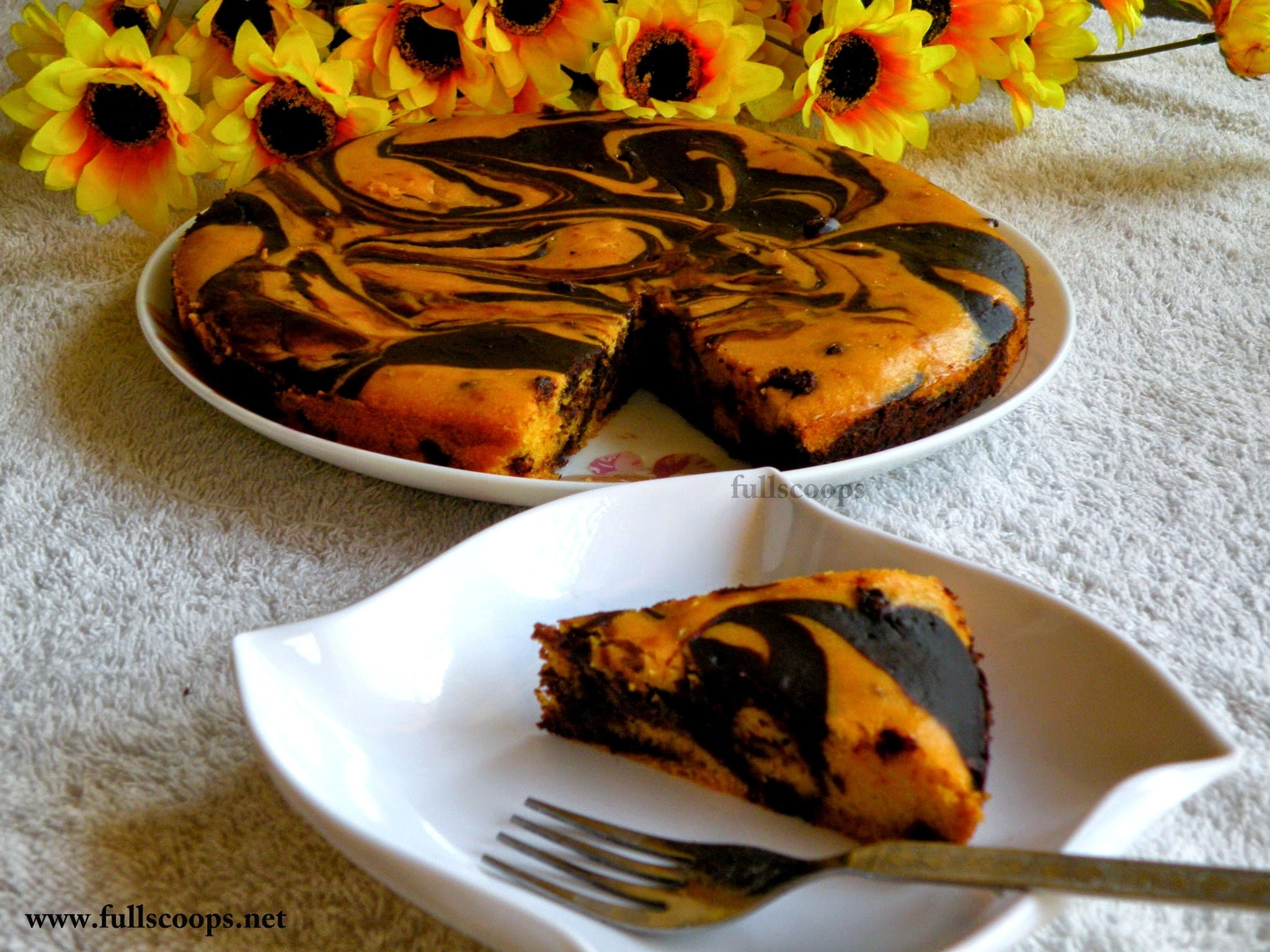 Eggless Mango and Chocolate Marble Cake (eggless and butterless)