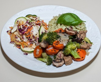 Seitan with Broccoli, Zucchini, and Carrot served with Jade Pearl Rice and Chopped Salad (No Added Fat, Waterless Cooking)