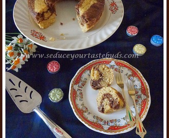 Eggless Butterless Whole Wheat Coconut Marble Cake