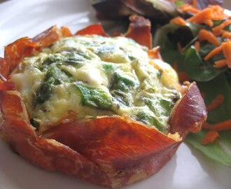 Springtime Green Eggs and Ham – Asparagus, Green Pea, and Goat Cheese Quiche in Prosciutto Cups