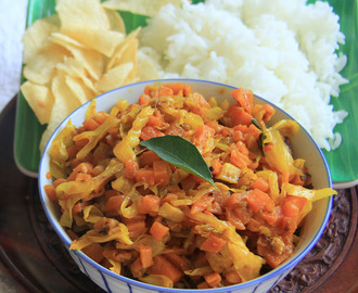 Cabbage and Carrot Fry - Simple Vegetarian stir fry for rice or Roti