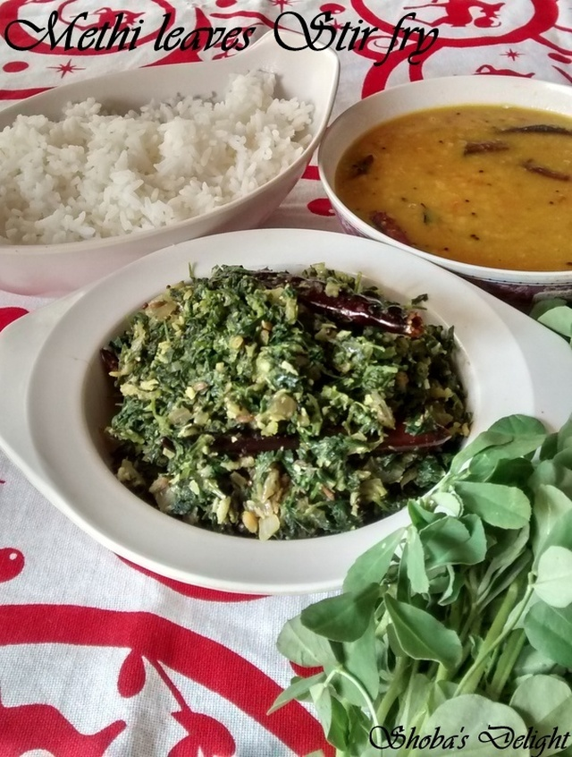 Methi leaves Stir Fry (Vendhaya Keerai poriyal)