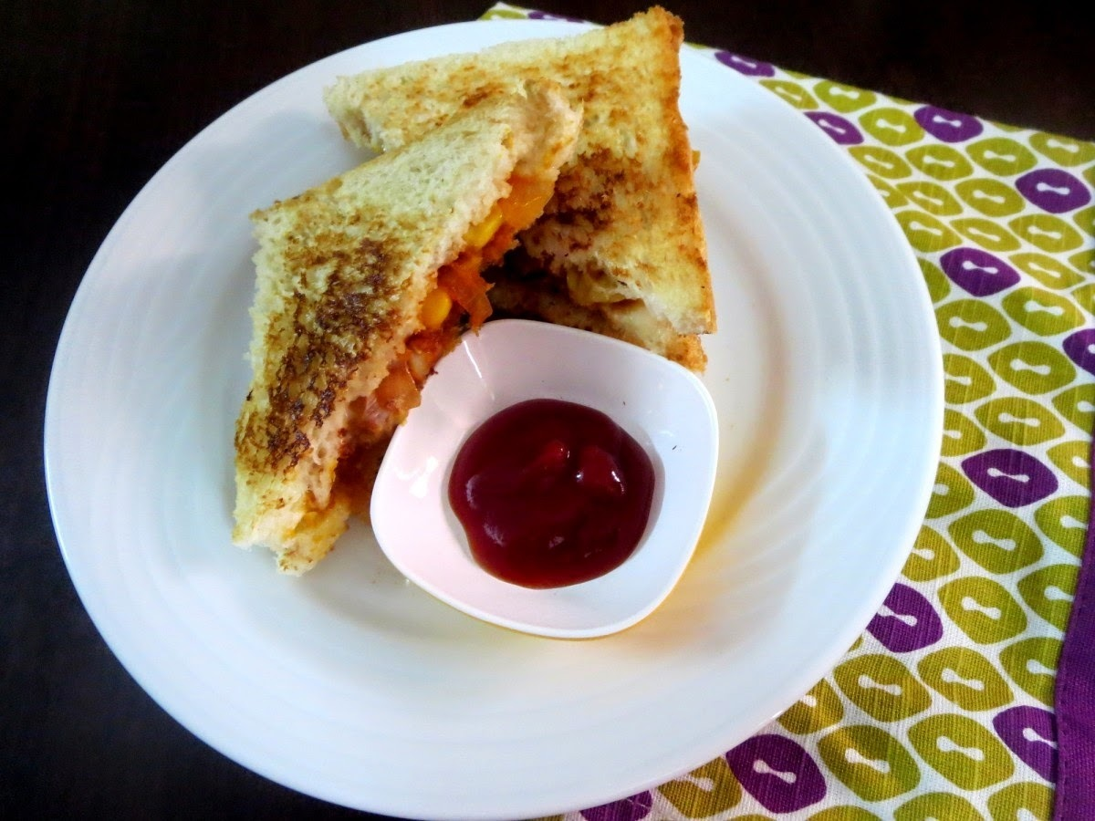 Cheese Masala Sandwich ~ Nasta Recipes for Kids