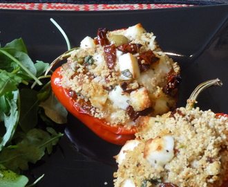 Mediterranean Halloumi and Couscous Stuffed Roasted Peppers Recipe