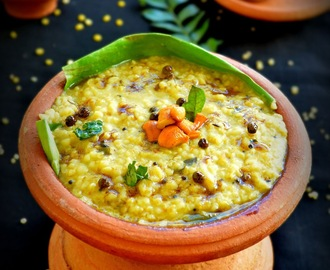 SPICY CRACKED WHEAT PONGAL / DALI PONGAL ( KHICHIDI) WITH PONGAL GOJJU
