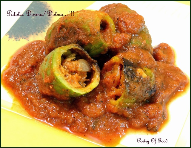 Potoler Dorma....!! Potoler Dolma....!! Prawn Stuffed Pointed Gourd Curry ....!!!!