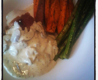 Parma Wrapped, Stuffed Chicken Fillets with a Mushroom Sauce, Grilled Asparagus and Sweet Potato Wedges