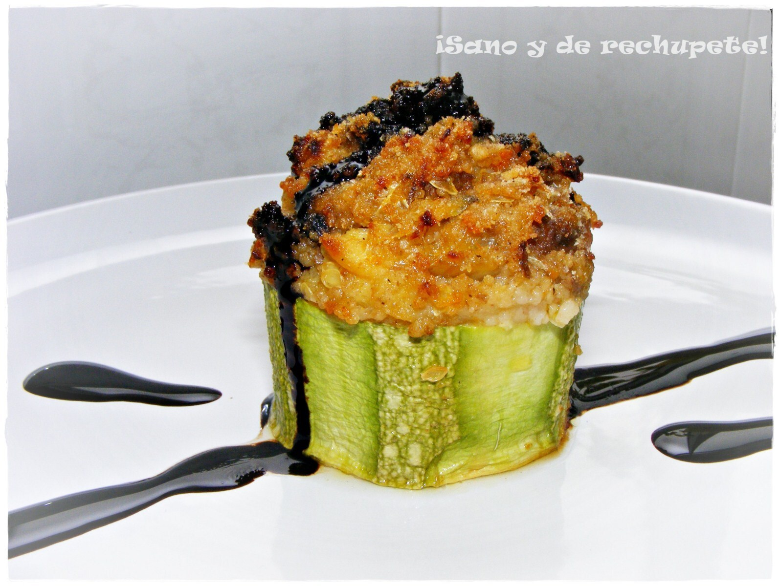 Calabacín relleno de cuscús y ternera estofada (zucchini stuffed with couscous and beef stew)