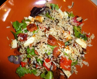 Wild Rice with Halloumi and Chorizo with an Orange, Pomegranate and Walnut Dressing Recipe