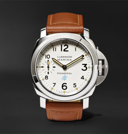 Luminor Marina Logo Acciaio 44mm Steel And Leather Watch - White