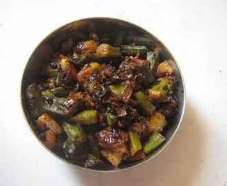 Aloo bhindi fry / Potato lady's finger fry