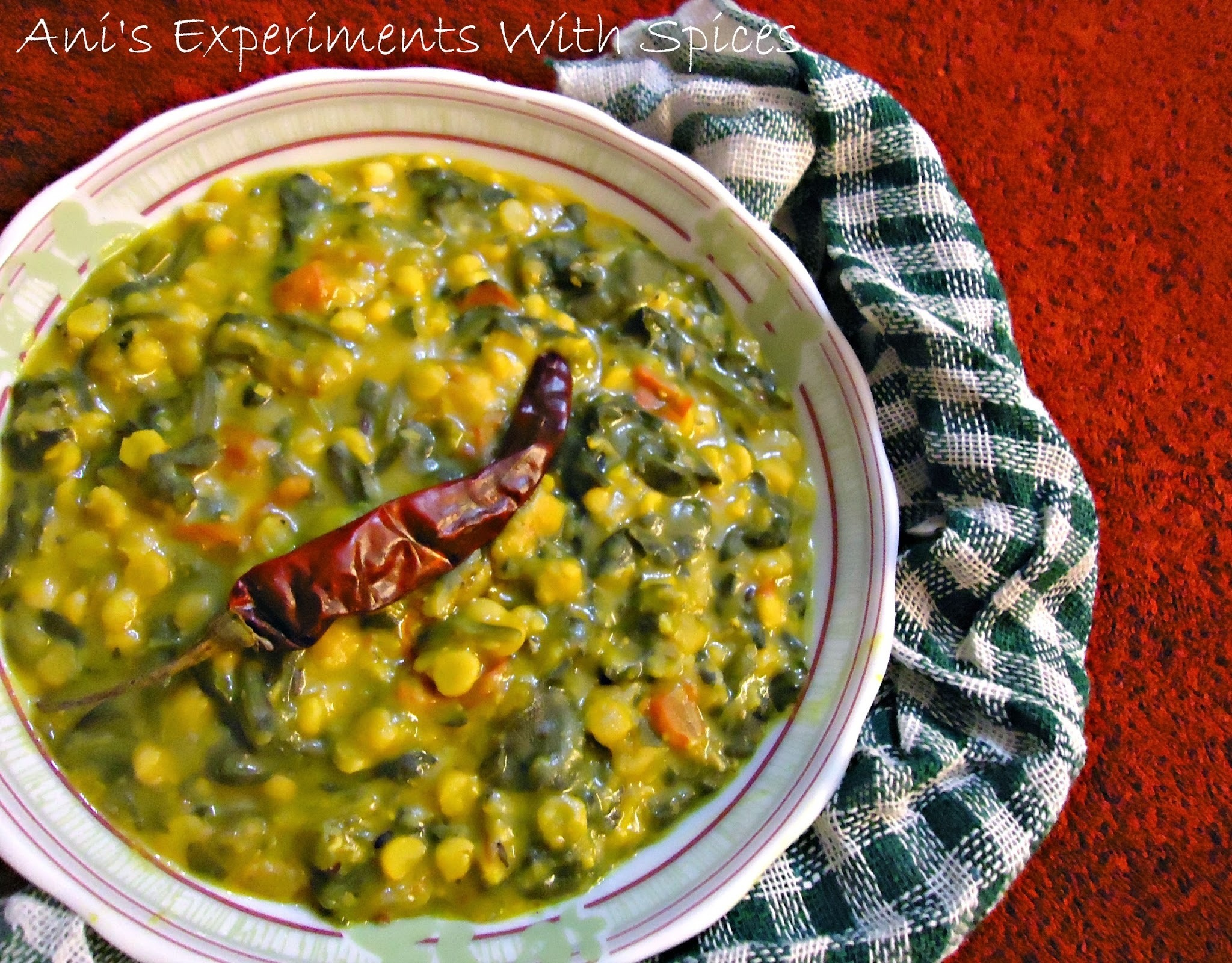 Chana Dal Palak (Split Yellow Chickpeas With Spinach) In the Microwave