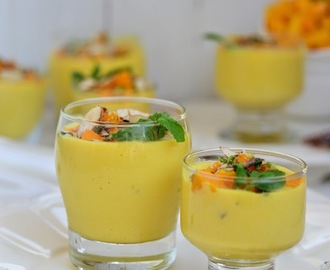 Mango Basundi ( Thickened milk flavored with Mangoes )
