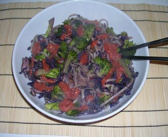 Rocket and Roses Hot Noodles with Purple veggies and 5-Spice Plum Chutney Dressing