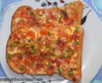 Cheese Onion Tomato Toast on Tawa