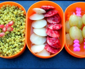 Beet Root Idlis and Sprouts for Kids Lunch Box