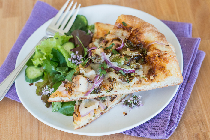 Barbecue Pizza with Chicken and Roasted Brussels Sprouts