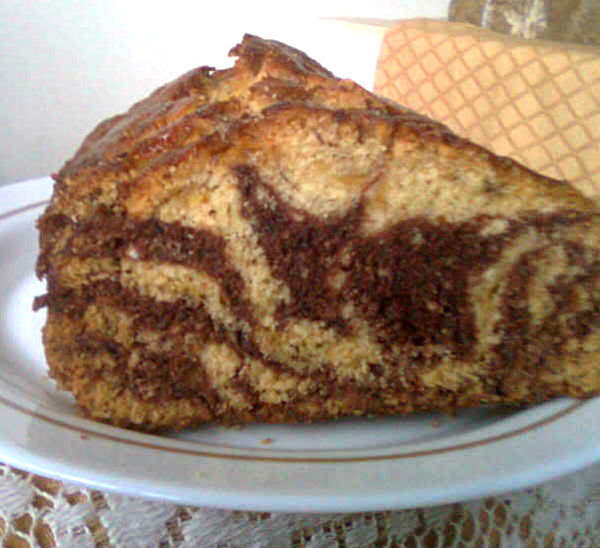 BANANA CHOCOLATE BREAD, MARBLED