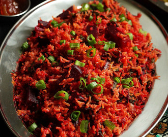 Beetroot and Beet Green Pulao Recipe | Simple Pulav or Pilaf Recipe