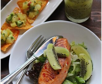 {Zespri Kiwifruit Recipes} Kiwi, Lime & Mint Cooler, Avocado with Gold Kiwifruit Salsa and Pan-fry Salmon with Green Kiwifruit