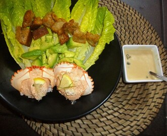 Homemade Crab Caesar Salad with Lemon and Parmesan Crouton's and Avocado Recipe