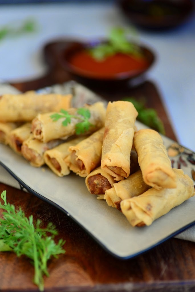 Vegetable Spring Rolls ( Indo Chinese Style Fried Rolls Filled with Vegetables )