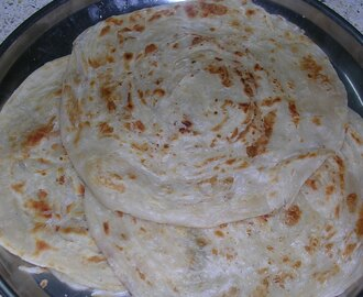 Kerala Parotta (Indian bread made of refined flour, wheat flour, egg and milk)