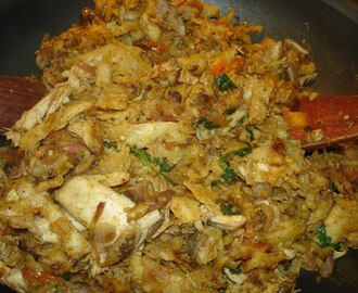 Chicken Kothu Parotta (Scrambled chicken parotta)