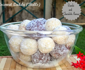 Coconut Laddu | Coconut Balls - Cardamom and Chocolate Flavour