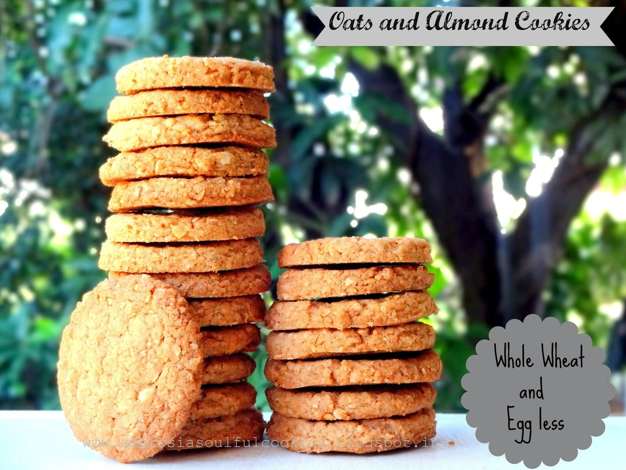 Whole Wheat Oats and Almond Cookies | Egg less Baking