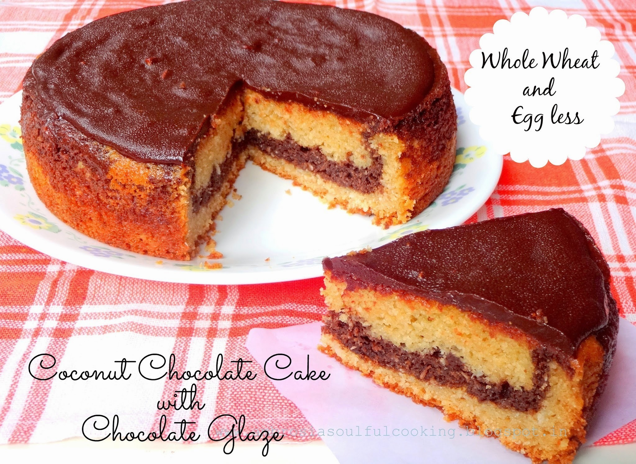 Egg less Coconut Chocolate Cake With Chocolate Glaze  (Whole Wheat) | Egg less baking