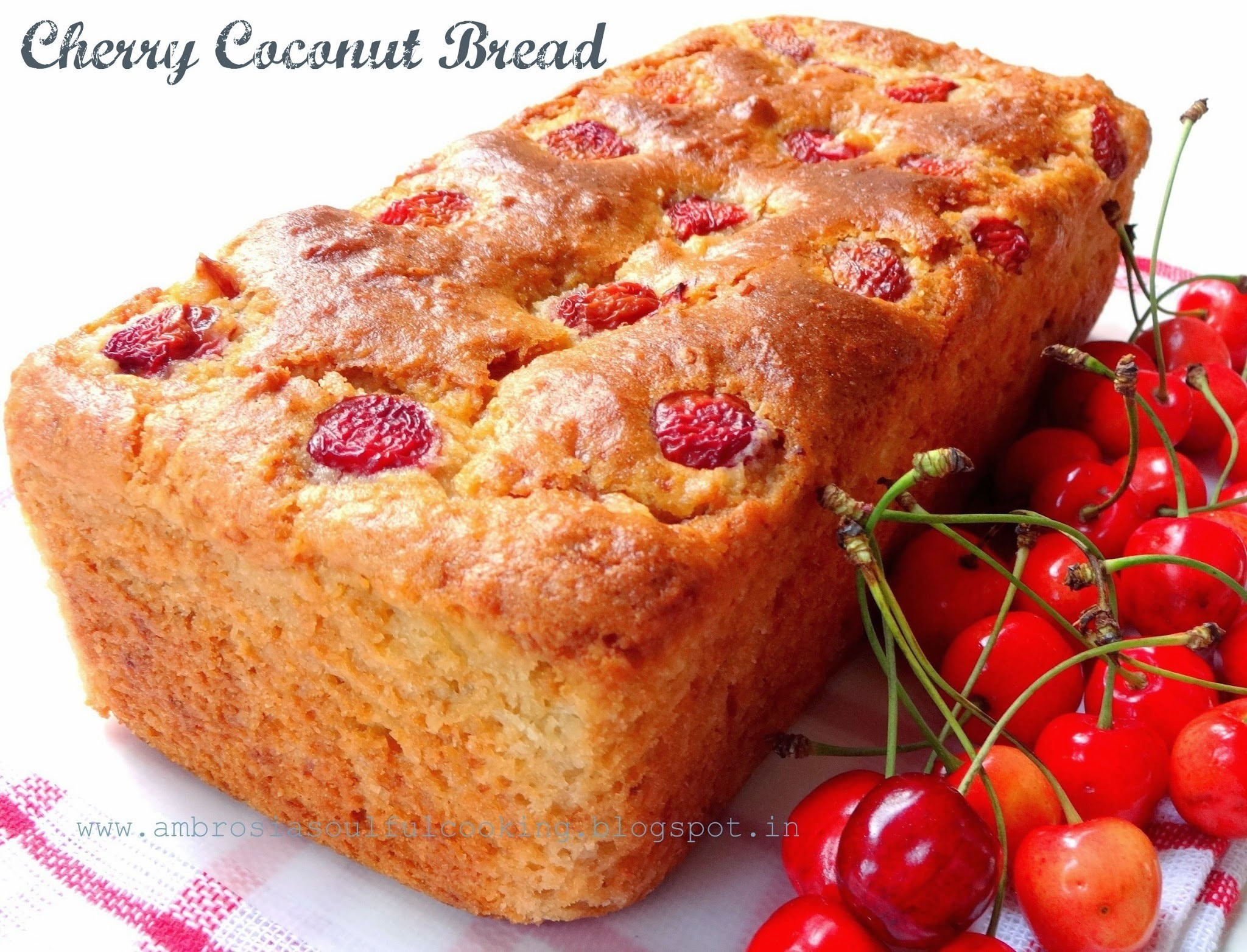Egg less Cherry Coconut Bread (Whole Wheat and Butter Free) | Egg less Baking # twelve loaves