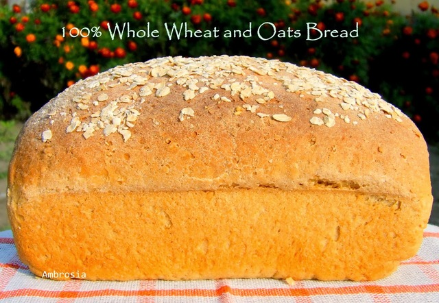 100% Whole Wheat And Oats Bread (Vegan) # Twelveloaves