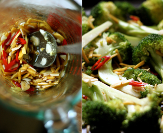 Spicy Roasted Broccoli with Almonds