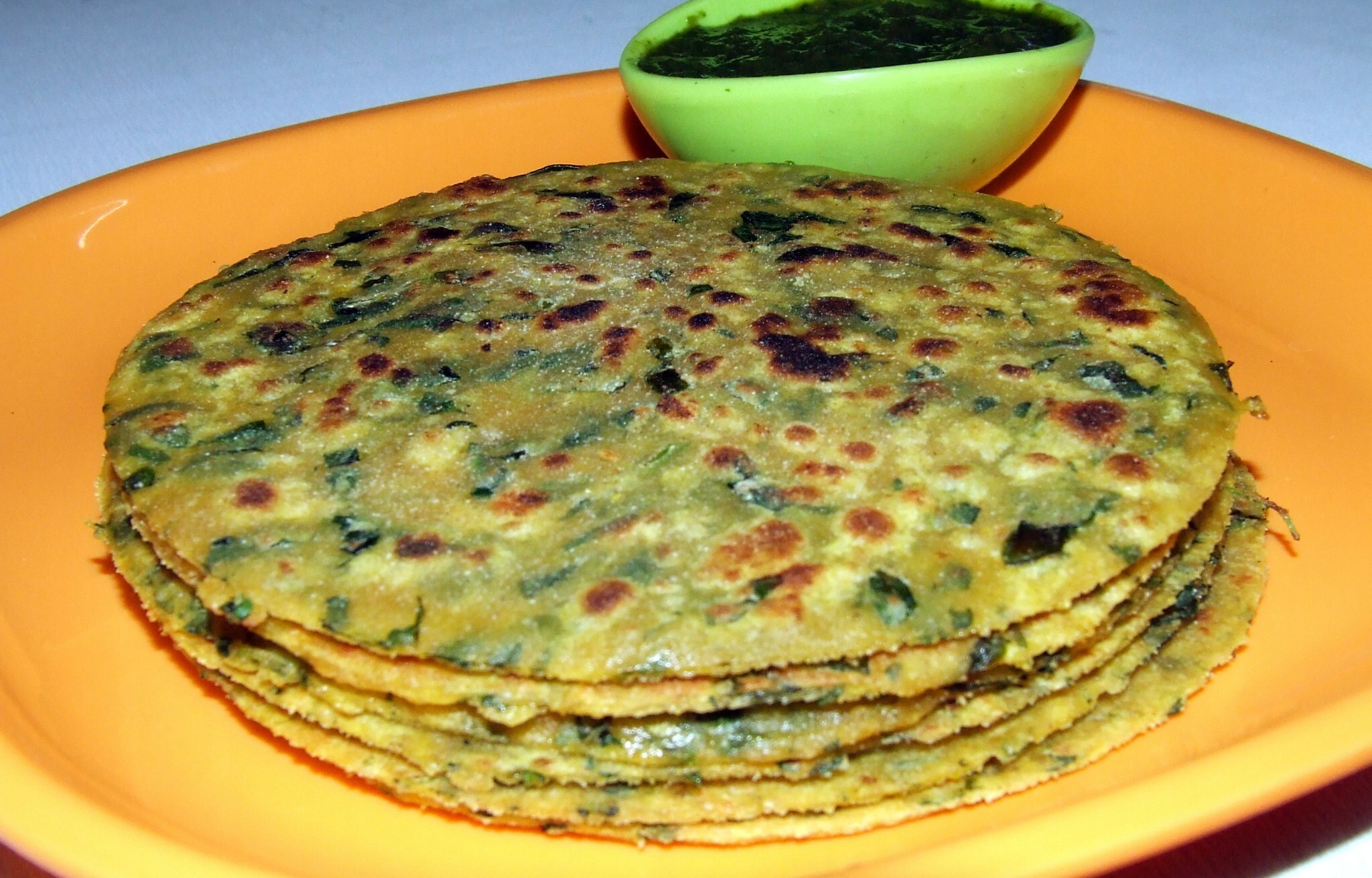 TWO GRAIN FENUGREEK PARATHAS WITH SOYA  AND GRAM FLOUR