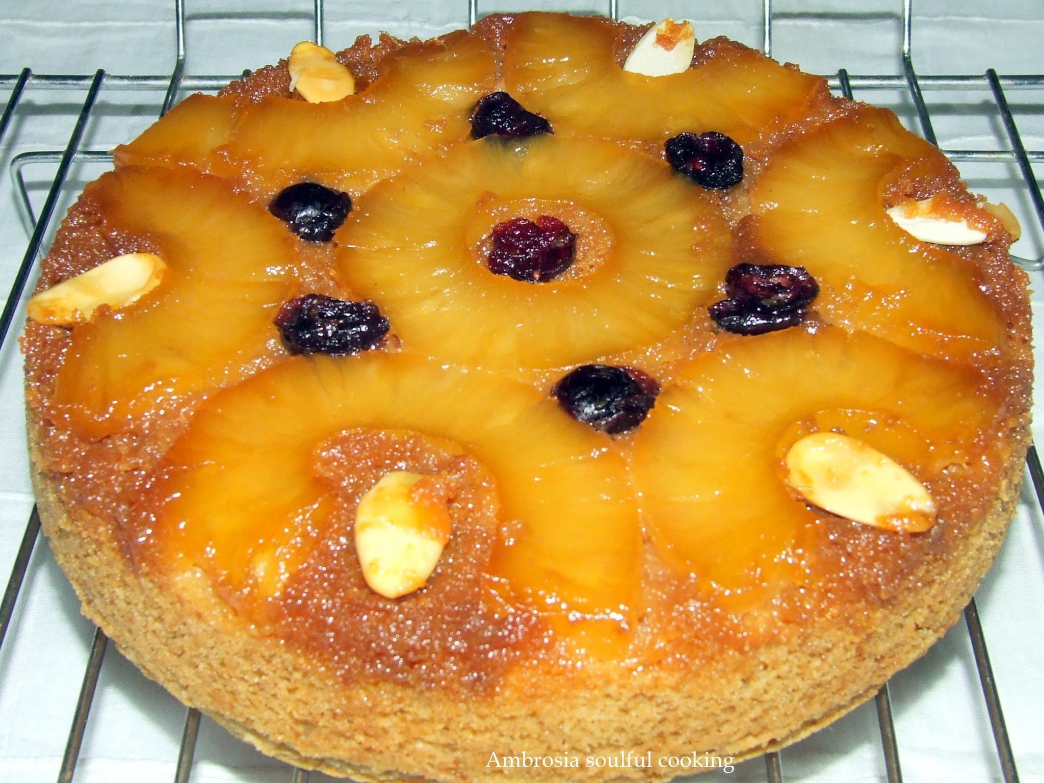 WHOLE WHEAT AND EGGLESS PINEAPPLE UPSIDE DOWN CAKE