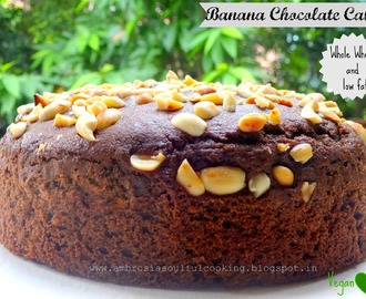 Whole Wheat Vegan Banana Chocolate Cake with Roasted Peanuts | Vegan Baking
