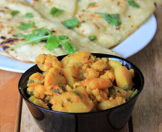 Aloo Gobi recipe - Potato and cauliflower recipe - Simple side dish for rice / roti