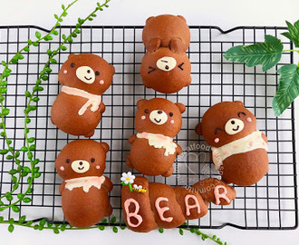 Cute Bear Chocolate Bread 小熊造型可可软面包