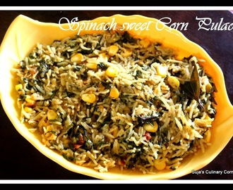 Spinach sweet corn pulao
