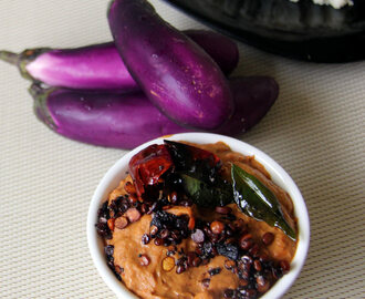 Eggplant Chutney - Brinjal chutney - Easy side dish for idli / dosa - Simple side dish for idli / dosa