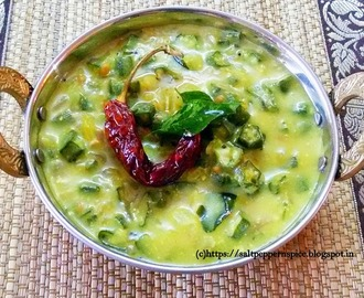 Vendakka Moor Kolumbu (Ladiesfinger/ Okra in Yoghurt Gravy) Recipe