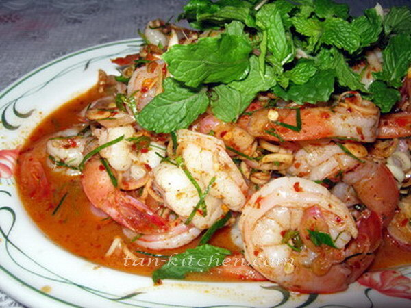 Thai Spicy Shrimps Salad (Plah Koong)