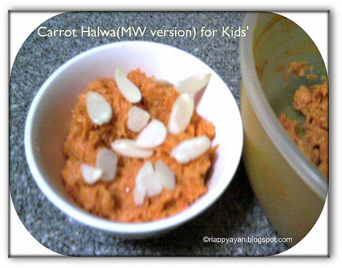 Quick & Easy Carrot Halwa in MW(for lil' kids)