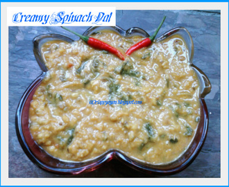 Creamy Dal Palak with a twist ( Creamy Lentil soup with fresh spinach leaves)