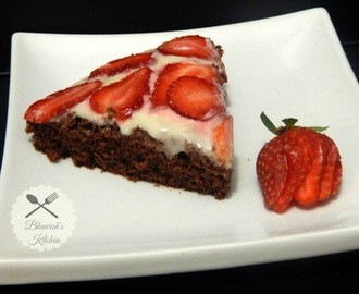 Chocolate Cake with Cream cheese and strawberry topping
