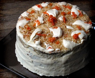 Apple Carrot Oatmeal Cake with Broiled Coconut Topping and Molasses Cream Cheese Icing