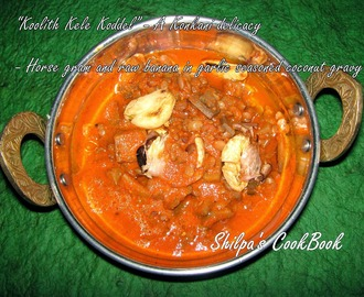 "My dish No. 402 - ""Kulith kele Koddel"" or Horse gram raw & raw banana in garlic seasoned coconut gravy - A Konkani curry"